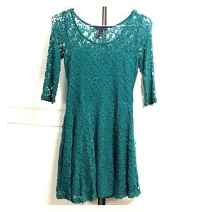 Green Lace Material Girlie Mini Dress